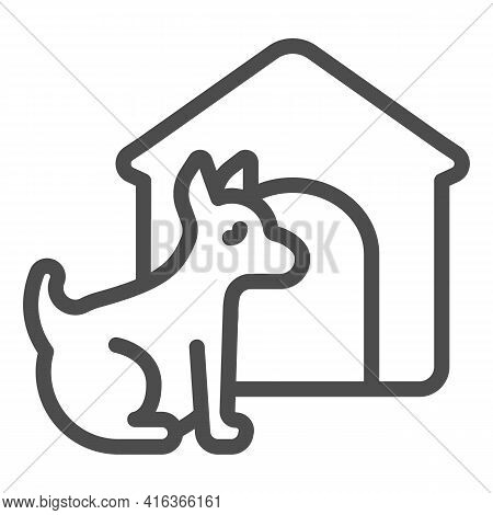 Puppy And Doghouse Line Icon, Animal Hospital Concept, Pet Dog House Sign On White Background, Dog W