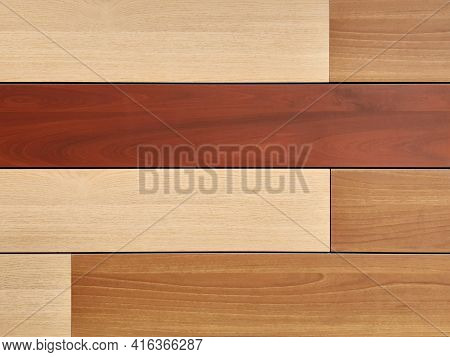 Detail Of Solid Wood Sheets Of Different Shades. Modern Wood Laminate Panel Background In Horizontal
