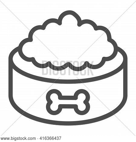 Food In Dog Bowl With Bone Line Icon, Animal Hospital Concept, Dry Pet Food Sign On White Background