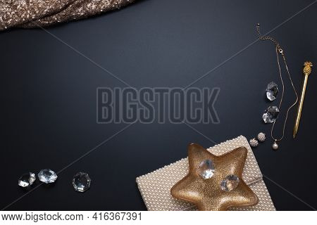 Elegant Background, Template For Text Or Logo. Jewellery And Other Accessories On The Black Backgrou