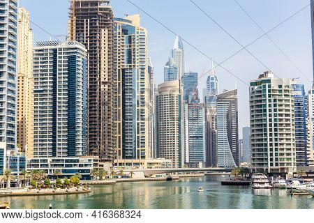 Dubai, Uae, 22.02.2021. Dubai Marina Skyline With Modern Skyscrapers, Marina Canal And Xline Dubai M