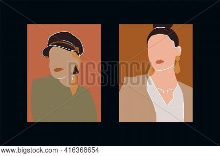 Young Female Portraits Collection. Abstract Portraits Drawn In Vector. Women's Beauty, International