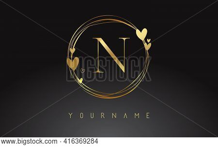 Letter N Logo With Golden Circle Frames And Golden Hearts. Luxury Vector Illustration With Letter N