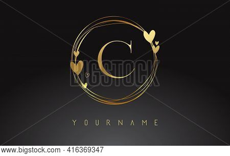 Letter C Logo With Golden Circle Frames And Golden Hearts. Luxury Vector Illustration With Letter C