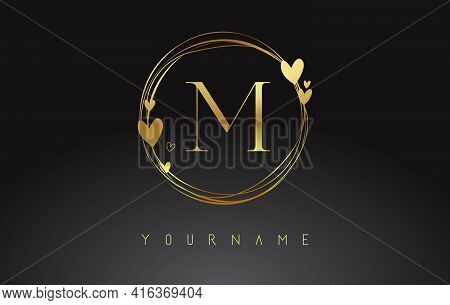 Letter M Logo With Golden Circle Frames And Golden Hearts. Luxury Vector Illustration With Letter M