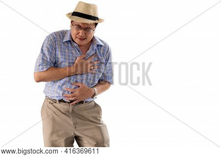 Asian Old Man, Are Suffering From Angina Due To Heart Disease, On White Isolated Background,  To Eld