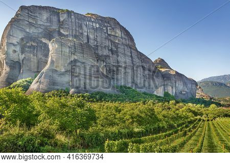 View Of The Vineyard And Mountains In Meteora, Greece