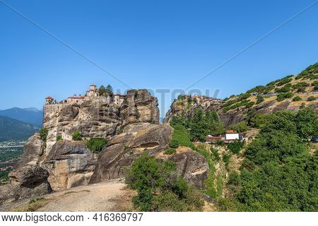 View Of Rock With Monastery Of Varlaam And Great Meteoron In Meteora, Greece