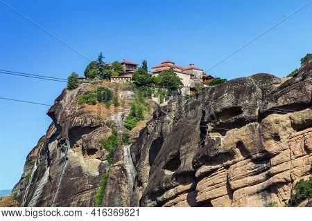 View Of Monastery Of Great Meteoron On Rock In Meteora, Greece