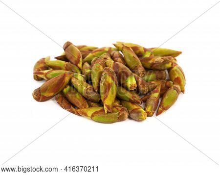 Pile Of Fresh Poplar Buds Isolated On White