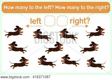 A Logic Game For Kids Called Left Or Right. Spatial Orientation With Dogs. Training Sheet. Count How