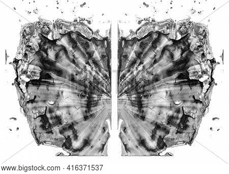 Rorschach Test Isolated On White Illustration, Random Abstraction Black And White Background. Psycho