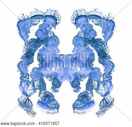 Rorschach Test Isolated On White Illustration, Random Abstraction Blue Background. Psycho Diagnostic