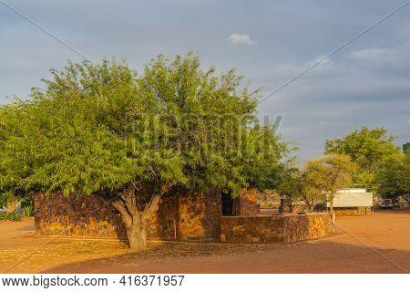 Betta, Namibia - January 05.2021: Betta Campsite With The Buildings At The Kalahari Desert During Su