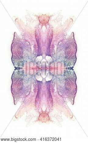 Card Of A Multicolor Rorschach Inkblot Test. Flower. Blue, Violet, Purple, Pink And Red Paint Blotch