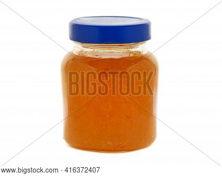Orange Jam In A Glass Jar Isolated On White