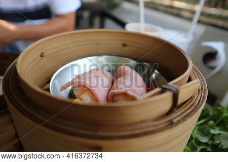 Ham Rolls, Steam Rolls Or Chinese Steamed Dumpling Or Dim Sum