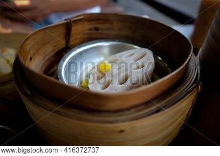 Lotus Root ,steamed Lotus Root Or Chinese Steamed Dumpling Or Dim Sum