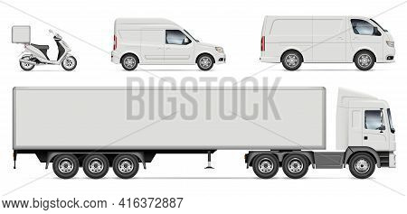 Delivery Vehicles Vector Mockup For Vehicle Branding, Advertising, Corporate Identity. Truck, Van, M