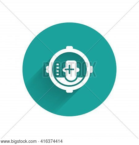 White Headshot Icon Isolated With Long Shadow. Sniper And Marksman Is Shooting On The Head Of Man, L