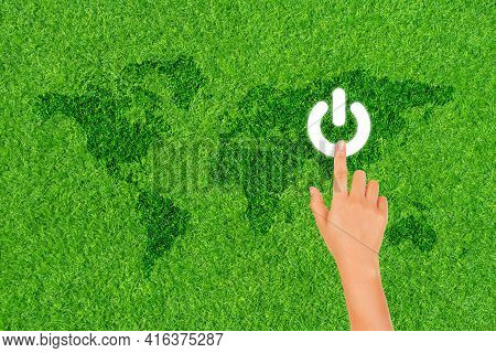 Earth Hour, Ecology And Environment Concept : Finger Hand Press On White Electric Power Button Icon