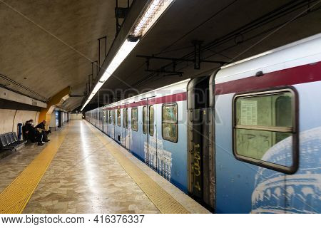 Rome, Italy. Spring 2020. Rome Metro. The Train Starts Moving From The Metro Platform.