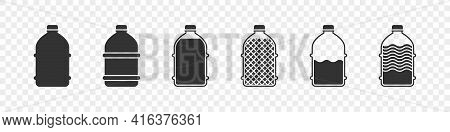 Set Of Plastic Bottles. Silhouettes Of Bottles. Concept Flat Bottles Icons. Vector Illustration