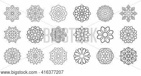 Big Set Of Ornamental Round Dotted Flowers Isolated On White Background. Black Halftone Mandalas. Ge