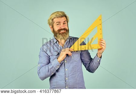 Man Use Triangle. Math Or Mathematics. Stem Education Concept. Study Algebra At University. Back To