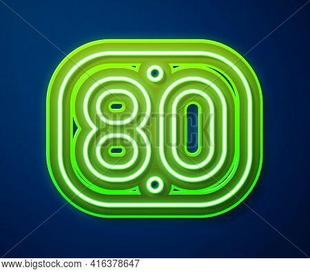 Glowing Neon Line 80s Retro Icon Isolated On Blue Background. Eighties Poster. Vector