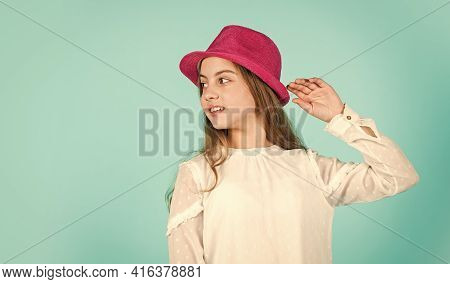 Summer Accessory Collection. Happy Kid In Hat. Fashion Accessory. Child Wear Hat. Accessories Shop.