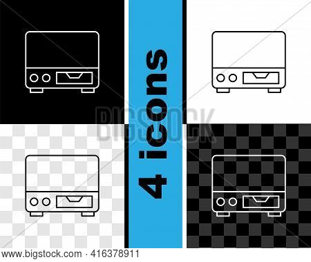 Set Line Old Video Cassette Player Icon Isolated On Black And White, Transparent Background. Old Bea