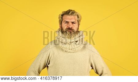 Fever And Thermal Regulation Of Immunity. Bearded Man Sick. Warm Scarf Around Neck. Hipster Fever. C