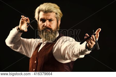 Male In Barbershop. Mature Man With Dyed Hair In Blonde. Vintage Barbershop Styling. Barber Tools. B
