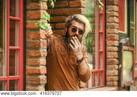 Smoking Outdoors. Went On Smoke Break. Smoking Habit. Fashionable Mature Man With Cigarette. Brutal