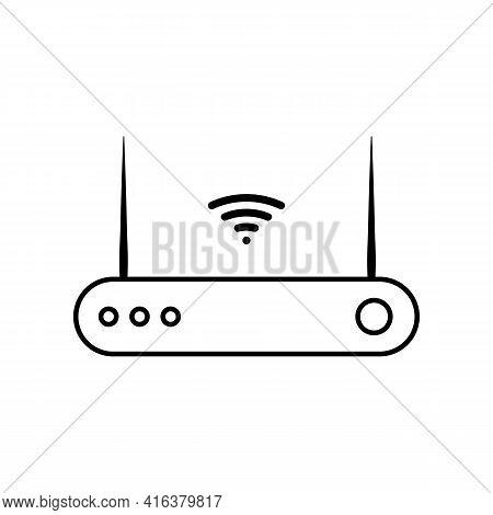 Router Line Icon In Black. Computer Component Sign. Modem Symbol. Flat Design For App, Graphic Desig