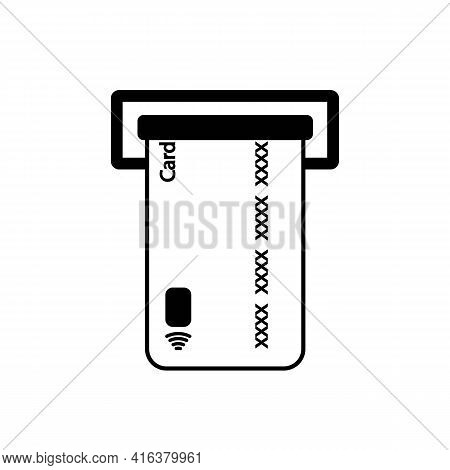 Insert Credit Card In Atm Line Icon In Black. Isolated Sign On White Background. Bank Card Or Paymen