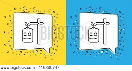 Set Line Iv Bag Icon Isolated On Yellow And Blue Background. Blood Bag. Donate Blood Concept. The Co
