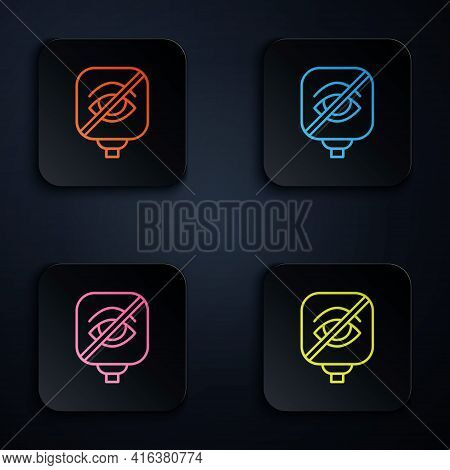 Color Neon Line Blindness Icon Isolated On Black Background. Blind Sign. Set Icons In Square Buttons