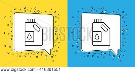 Set Line Canister For Motor Machine Oil Icon Isolated On Yellow And Blue Background. Oil Gallon. Oil