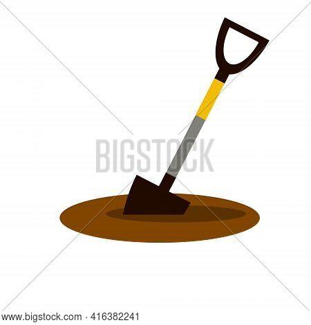 Shovel Dig Ground. Garden Equipment. Farmer Tool For Digging Beds. Flat Cartoon Illustration