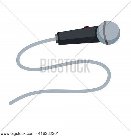 Microphone. Gray Mic. Talk Icon And Conversation Recording. Interview And Electronic Device With A L