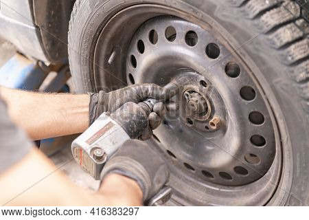 Moscow. Russia. Spring 2020. Tire Repair Shop. Preparing To Replace Winter Wheels With Summer Wheels