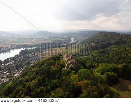 Aerial Panorama View Of Ancient Historic Medieval Castle Burg Hohenklingen In Colorful Forest Stein