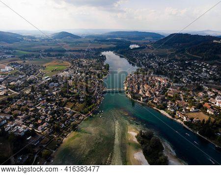 Aerial Panorama View Of Stein Am Rhein Historic Old Town City In Schaffhausen At Rhine River In Swit