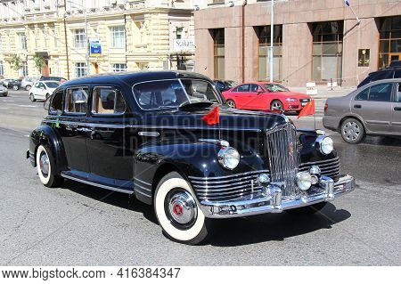 Moscow, Russia - June 2, 2013: Soviet Luxury Limousine Zis-110 Takes Part In The L.u.c. Chopard Clas