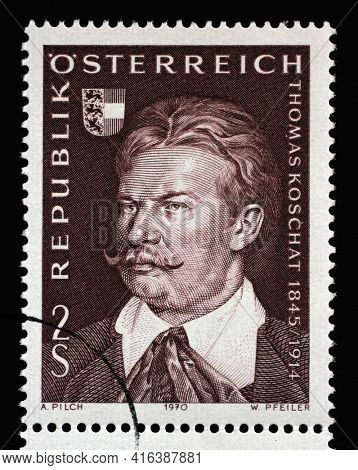 ZAGREB, CROATIA - SEPTEMBER 09, 2014: Stamp issued in the Austria shows the 125th Anniversary of the Birth of Thomas Koschat, circa 1970.