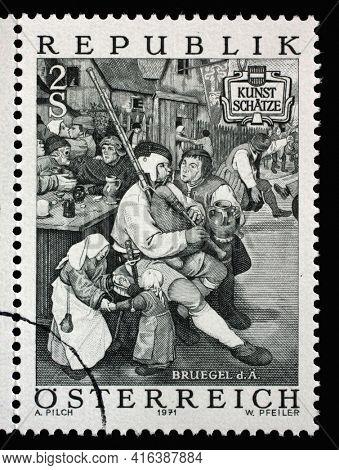 ZAGREB, CROATIA - SEPTEMBER 09, 2014: Stamp issued in Austria shows Farmers Dance by Pieter Breugel the Elder (c. 1525-1569), circa 1971.
