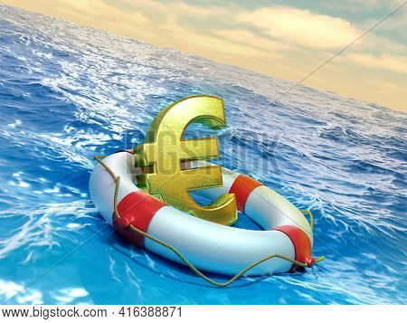Lifesaver prevents an euro symbol to sink into the ocean. 3D illustration