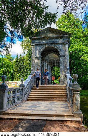 Pushkin, Russia - June 28, 2019: Marble Bridge Or Siberian Marble Gallery Is A Decorative Pedestrian
